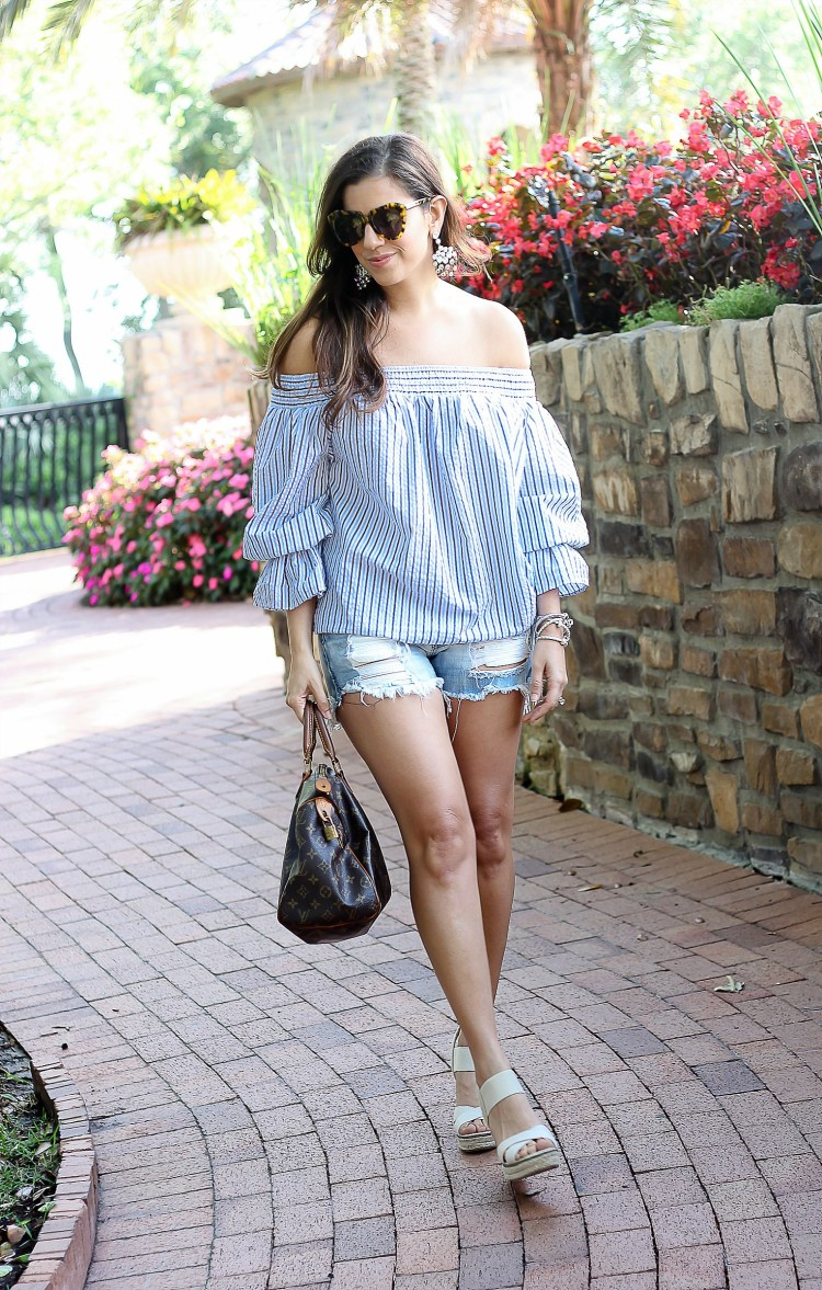 chicwish pastel blue striped top