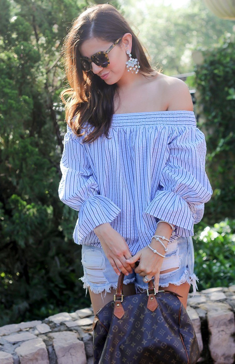 blue white stripe off shoulder top, chicwish off shoulder top, Jaime Cittadino, Sunflowers and Stilettos,
