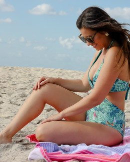 leaf print swimsuit, Miami fashion blogger