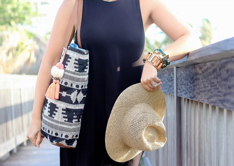 aztec tassel beach bag, lele sadoughi jewelry