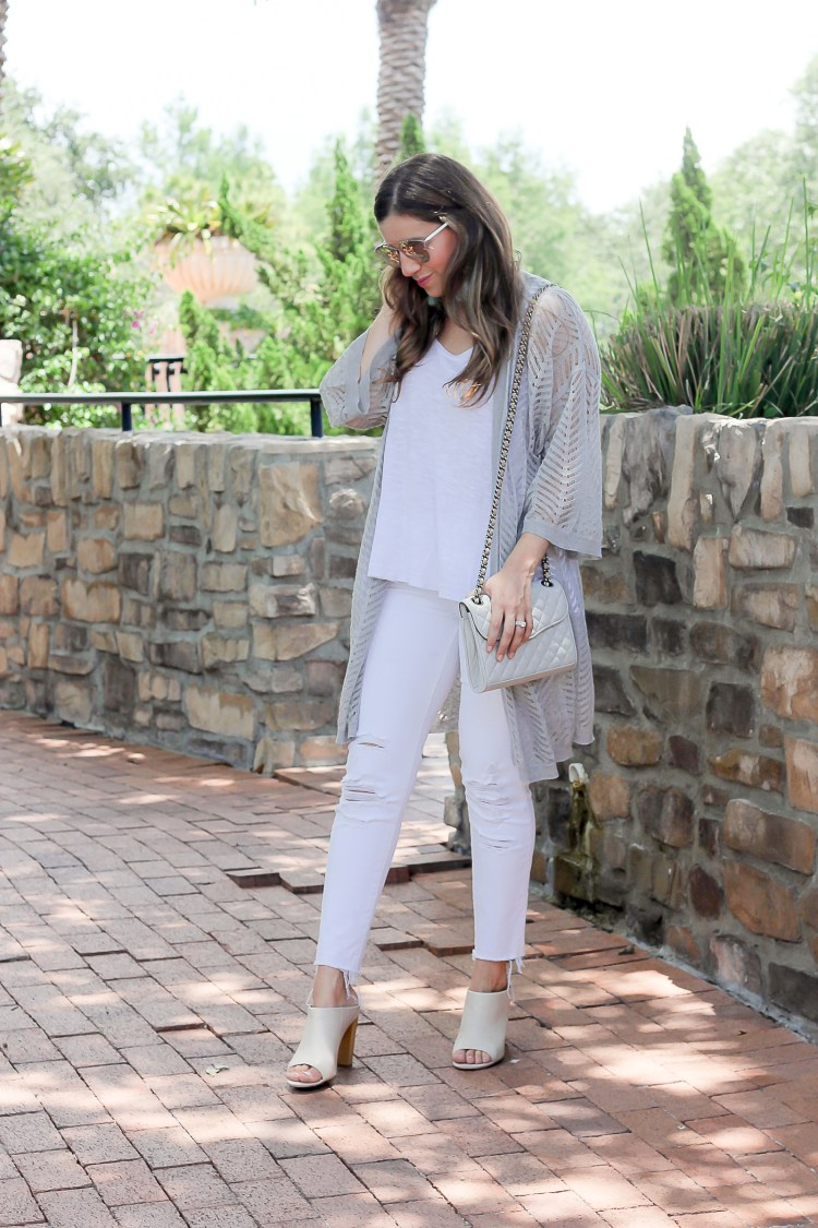 Design History cardigan sweater, all white summer outfit