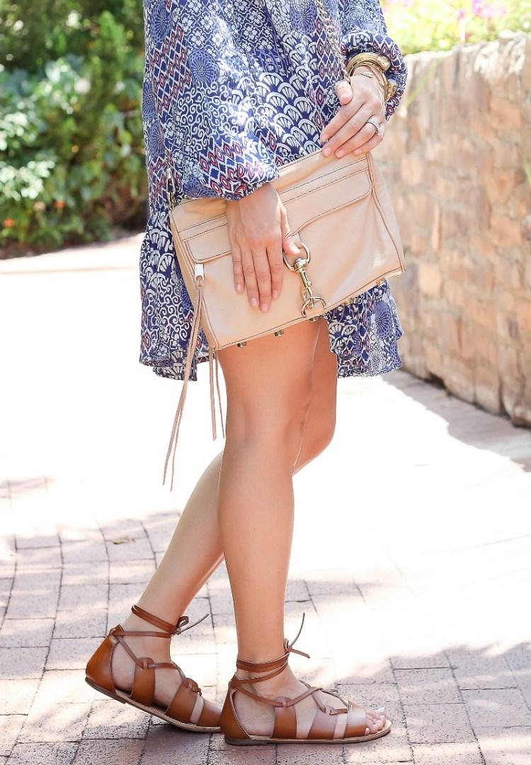 asos swing dress floral print , lace up gladiator sandals