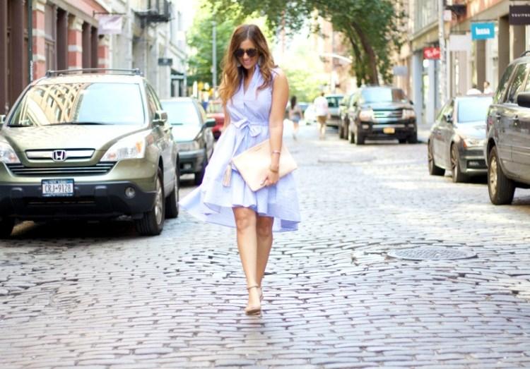 chicwish blue white stripe dress