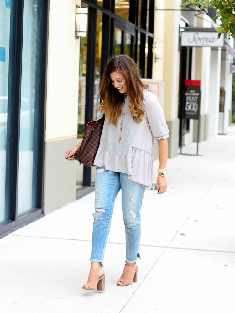 Miami Fashion blogger Jaime Cittadino wearing Chicwish Cozy My Fav Grey Dolly Hi-Lo Top
