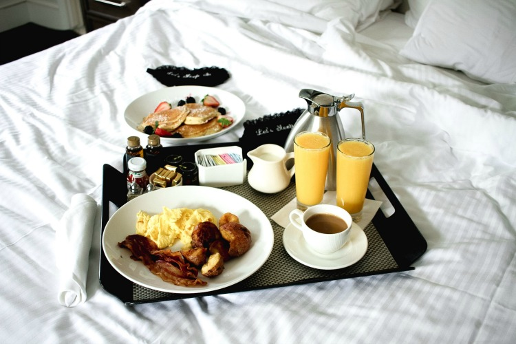 Boston Park Plaza breakfast in bed