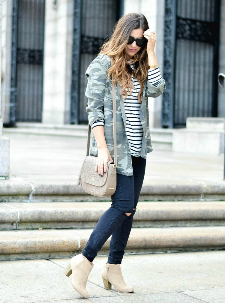 Gigi New York Kelly Saddle Bag, Camo Jacket, Camo Button Down, Camo and stripes pattern mix by fashion blogger Jaime Cittadino