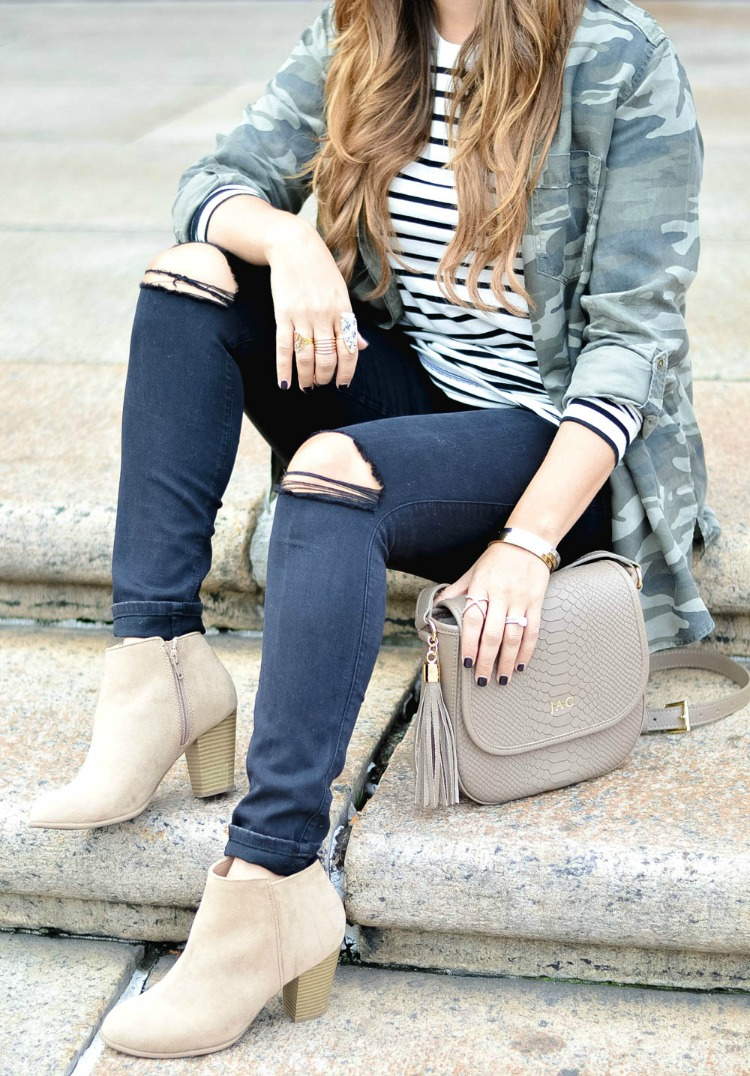 Black and White Striped Top, Camo Button Down, Black Distressed Skinny Jeans, Gigi New York Satchel, Tan Booties