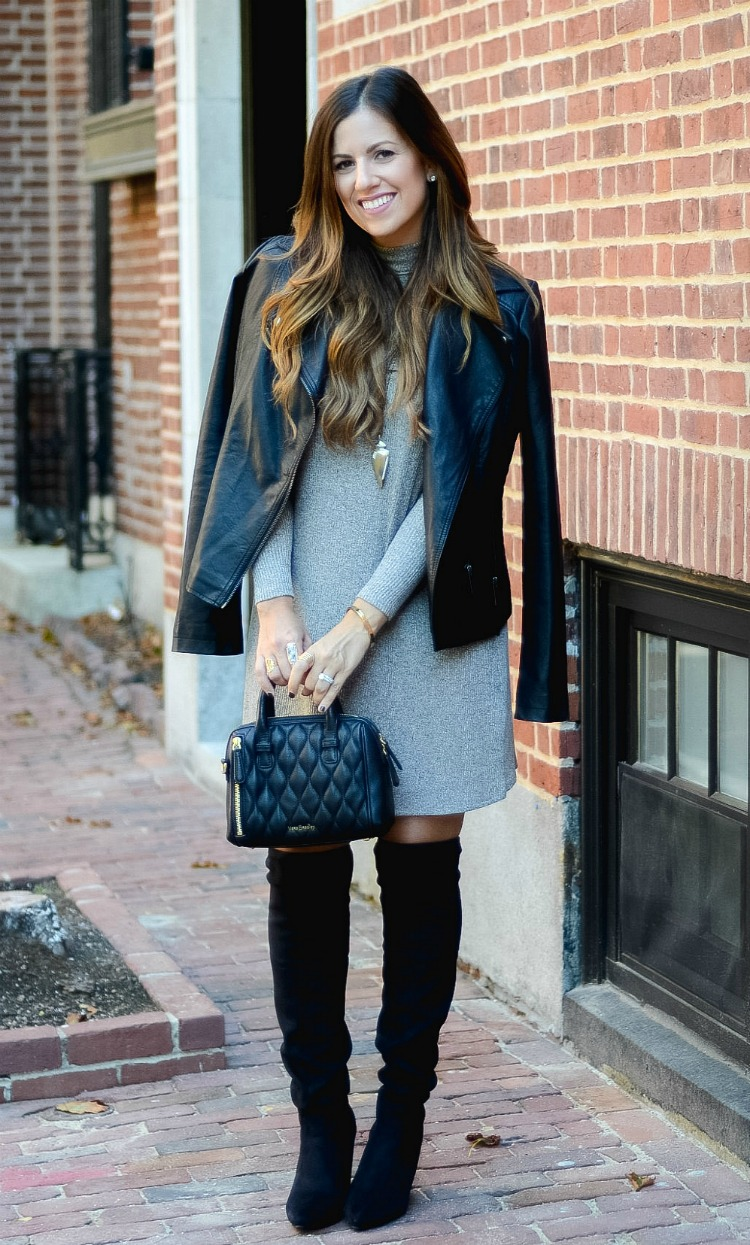 Cold Shoulder Dress, Biker Jacket, OTK Boots