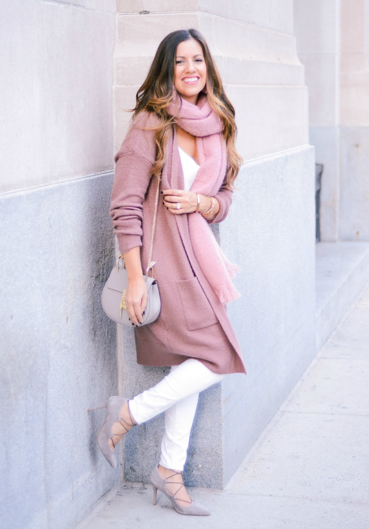 Mauve Cardigan, Mauve Scarf, White Jeans for Fall, Chloe Drew dupe, Fashion Blogger Jaime Cittadino of Sunflowers and Stilettos