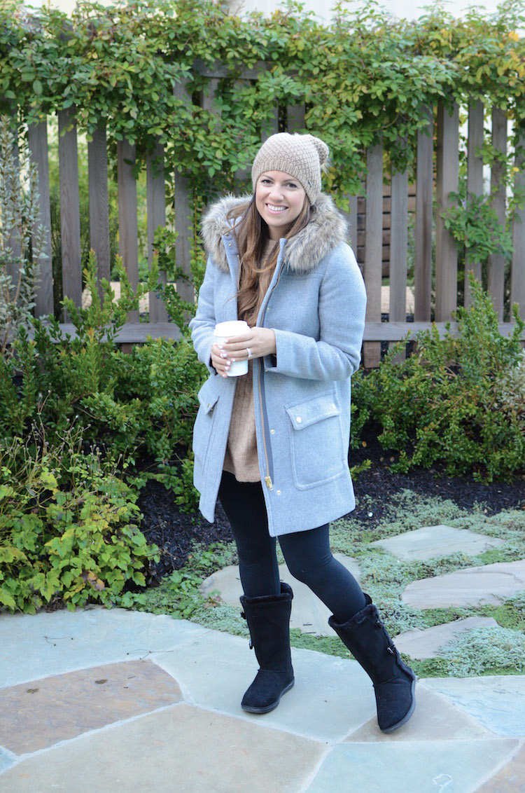 Fashion Blogger, Jaime Cittadino wearing a J Crew Factory Parka Coat at the Farmhouse Inn Sonoma California
