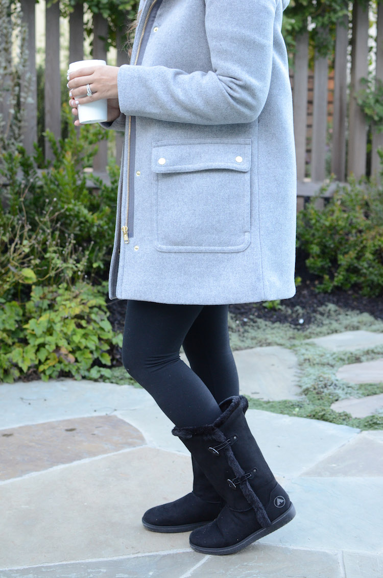J Crew Coat, Payless Boots, Ugg Dupes
