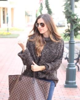 Fashion Blogger, Jaime Cittadino of Sunflowers and Stilettos wearing a Free People Knit Turtleneck Sweater in Charlotte, North Carolina