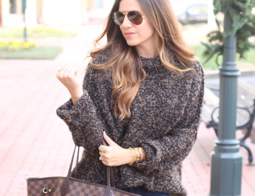 Fashion Blogger, Jaime Cittadino of Sunflowers and Stilettos wearing a Free People Knit Turtleneck Sweater in Charlotte, North Carolina