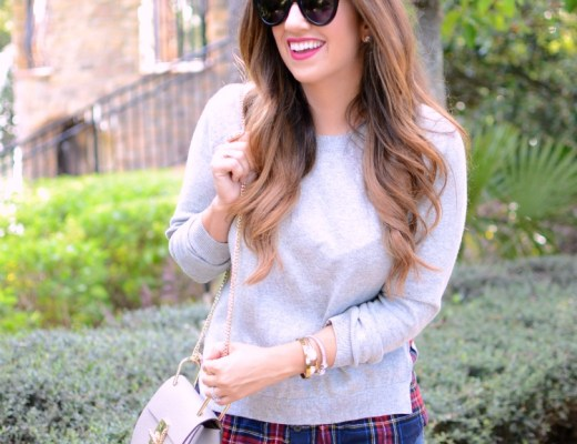 Goodnight Macaroon Gray sweater with red plaid, HEATHER GRAY SIDE SLIT CREWNECK RED PLAID SWEATER worn by fashion blogger, Jaime Cittadino