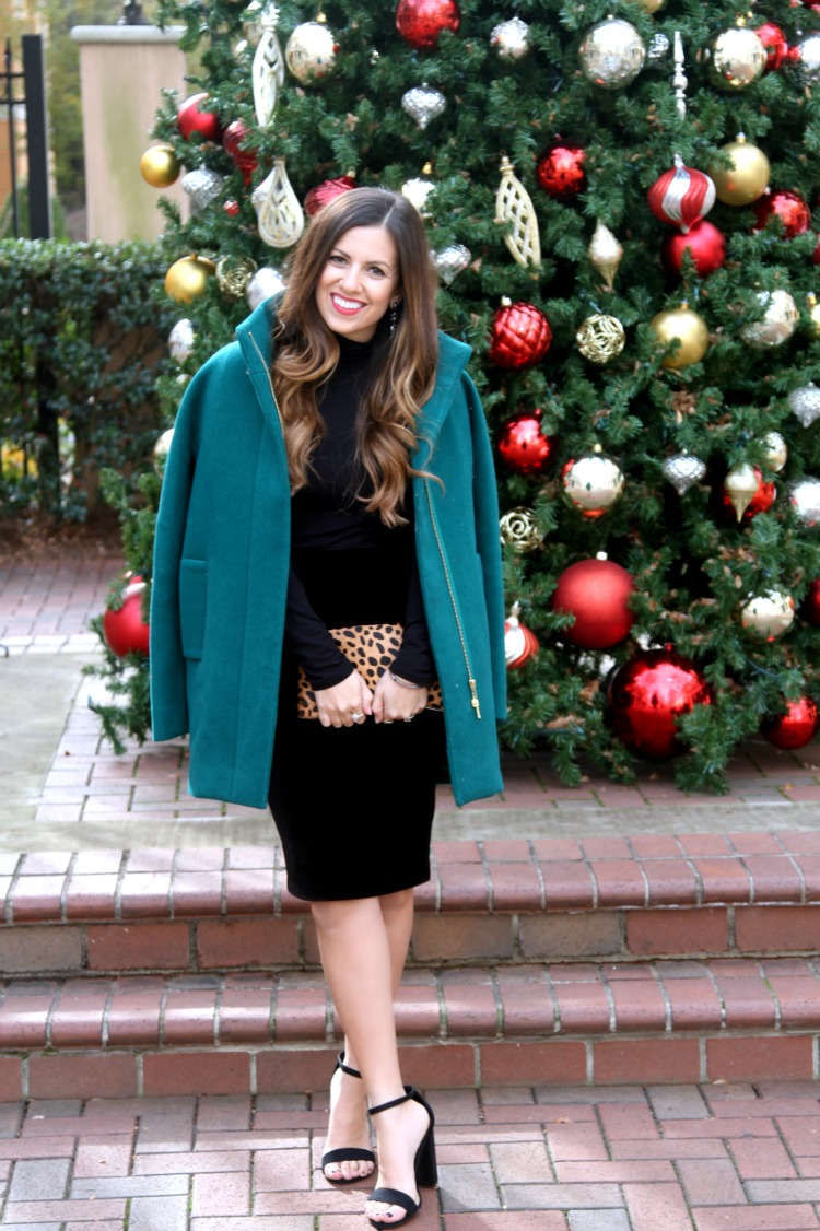Holiday Outfit, J Crew Jacket, Velvet Pencil Skirt