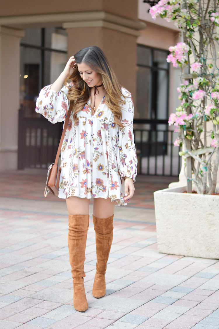 Boca Raton fashion blogger, Jaime Cittadino of Sunflowers and Stilettos wearing a floral tunic dress with over the knee boots