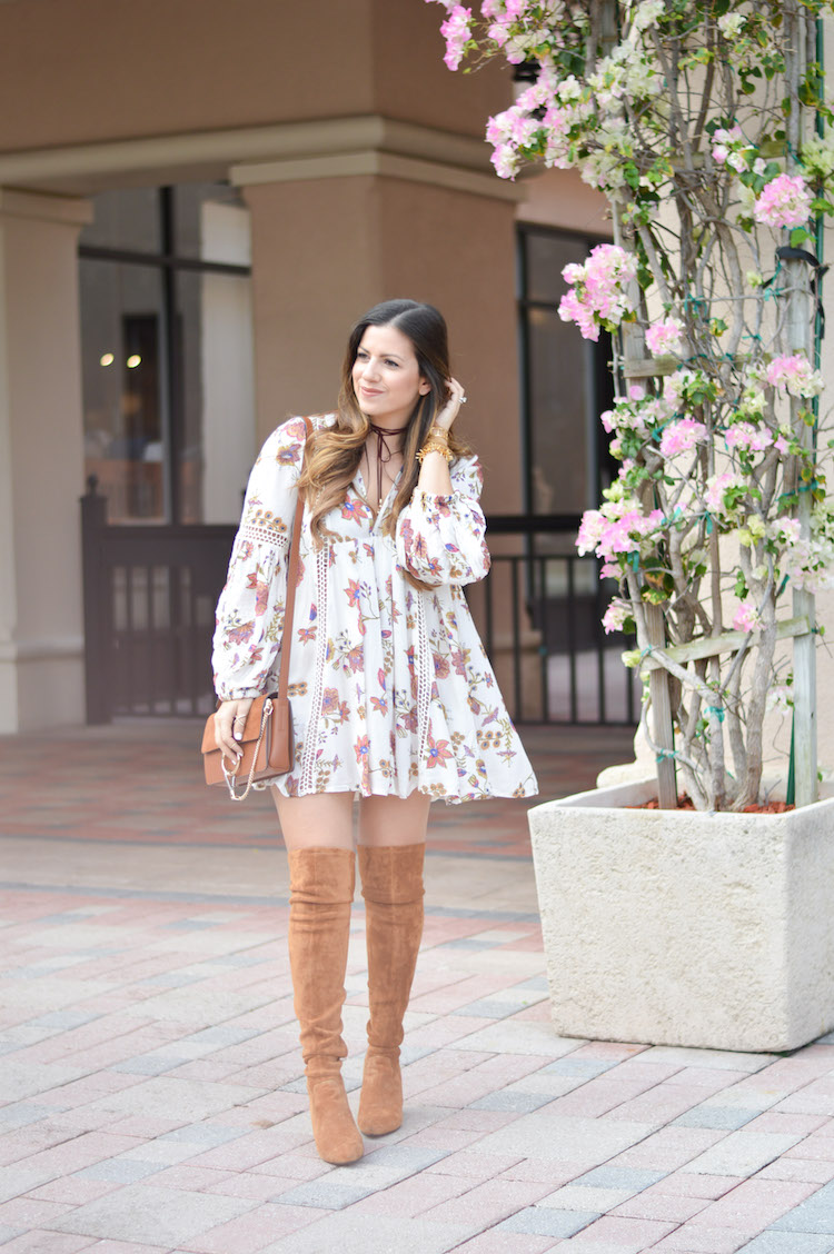 Free People floral tunic dress with over the knee boots worn by Florida Fashion Blogger Jaime Cittadino