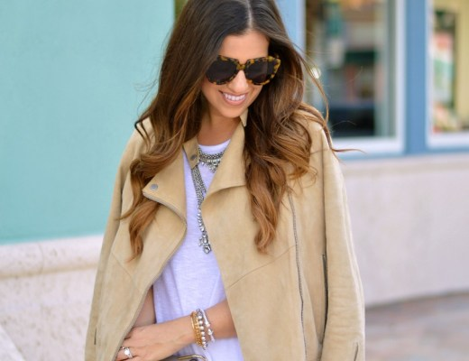 How to Style a Suede Biker Jacket in Spring