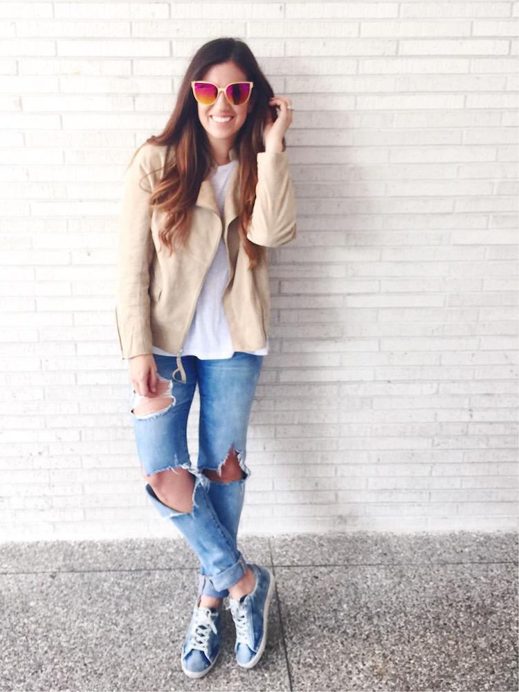 Cream Suede Biker Jacket, Golden Goose Sneakers, Italia Independent Sunglasses