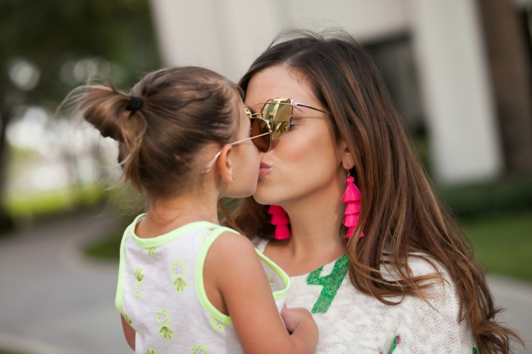 Mommy and Me Summer Style, Mommy and Me Fashion, Tassel Earrings, Pineapple Tank, Cactus Sweater