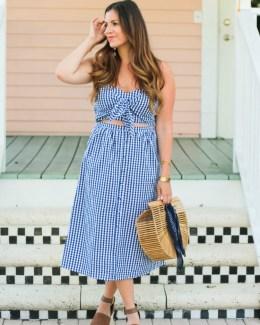 blue gingham midi dress worn by Fashion Blogger, Jaime Cittadino of Sunflowers and Stilettos in Delray Beach, Florida