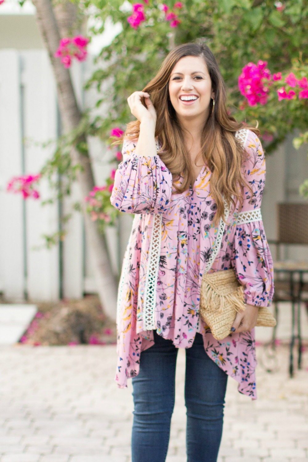 Chicwish tunic_ straw clutch_ Fashion Blogger Style