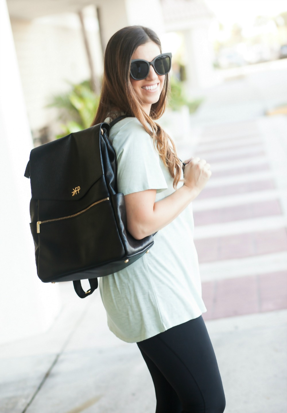 Lace-Up Tee Shirt _ Freshly Picked Diaper Bag _ Backpack Diaper Bag _ Black Quay Sunglasses
