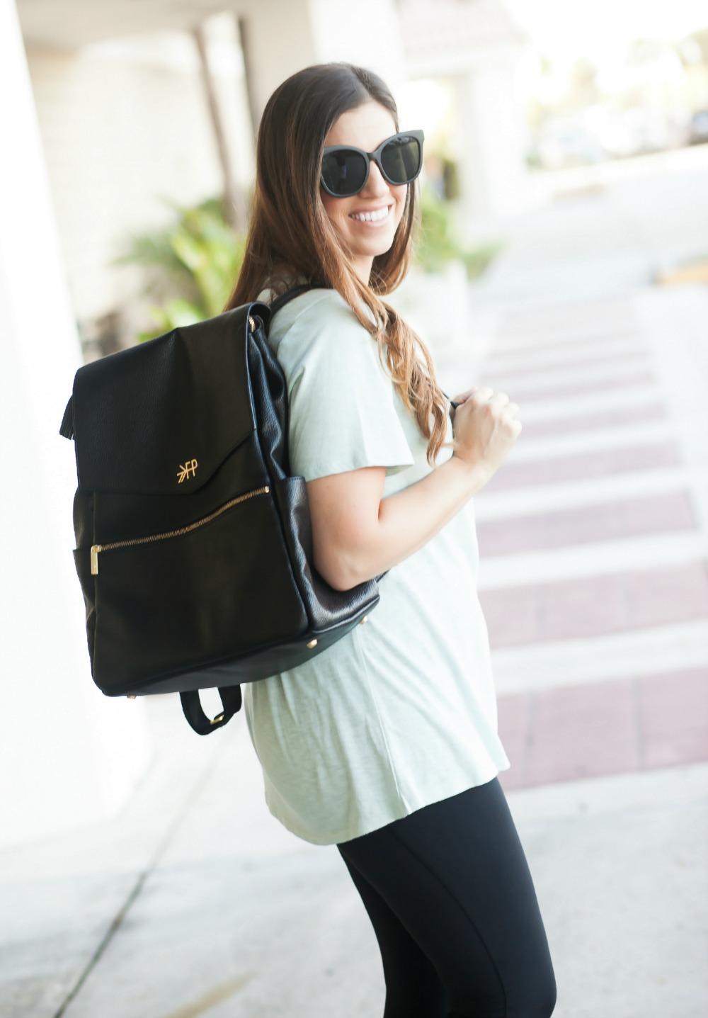 Lace-Up Tee Shirt _ Freshly Picked Diaper Bag _ Backpack Diaper Bag _ Black Quay Sunglasses