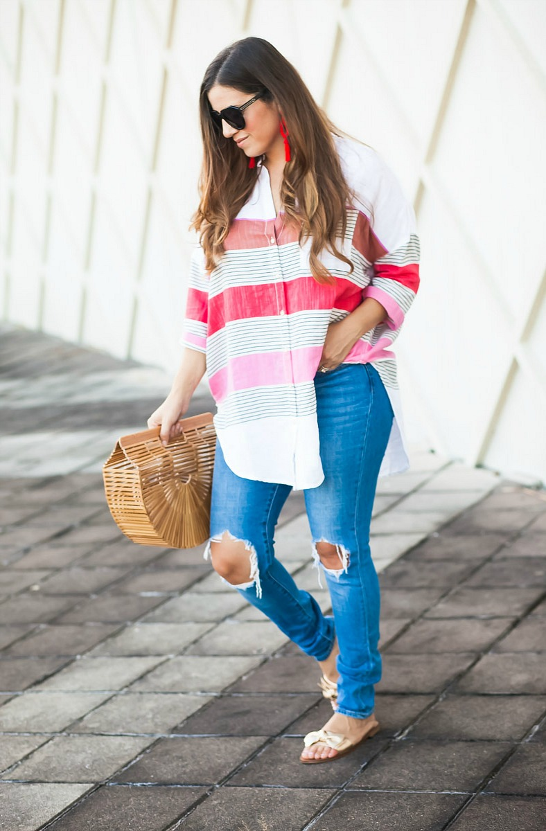 Monroe Oversized Buttondown _ Anthropologie oversized stripe button down top_distressed denim jeans
