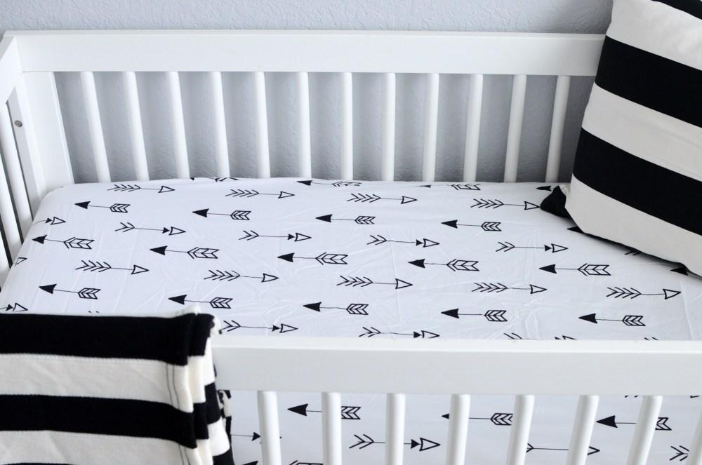 black white nursery, black white crib sheet