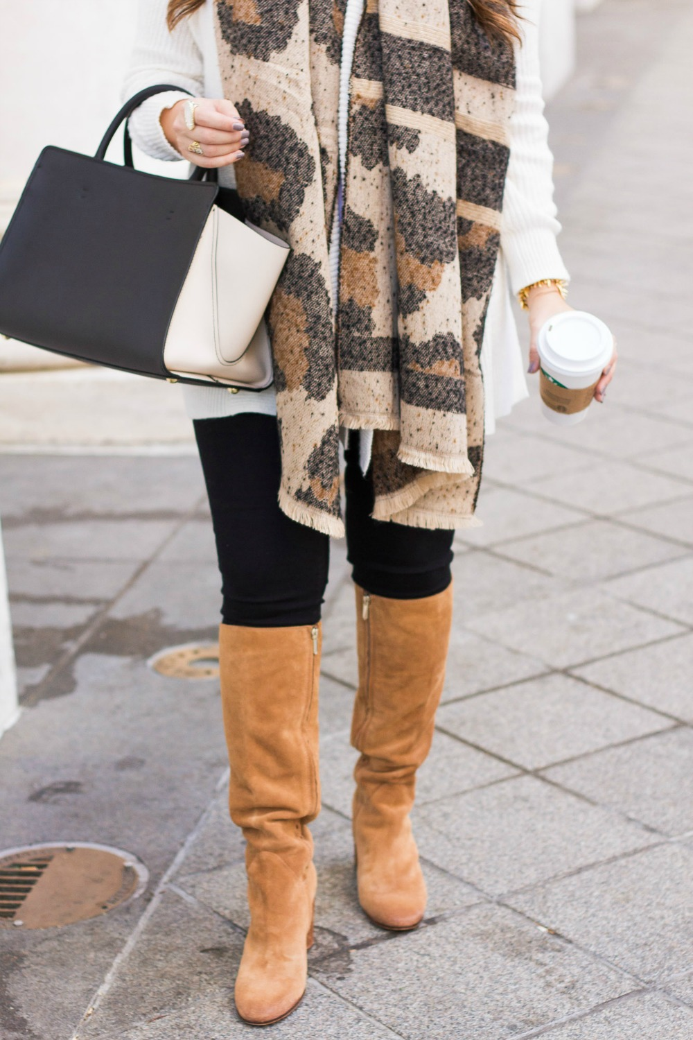 Cute Leopard Scarf, Sam Edelson Camellia Tall Boot, best camel colored boots
