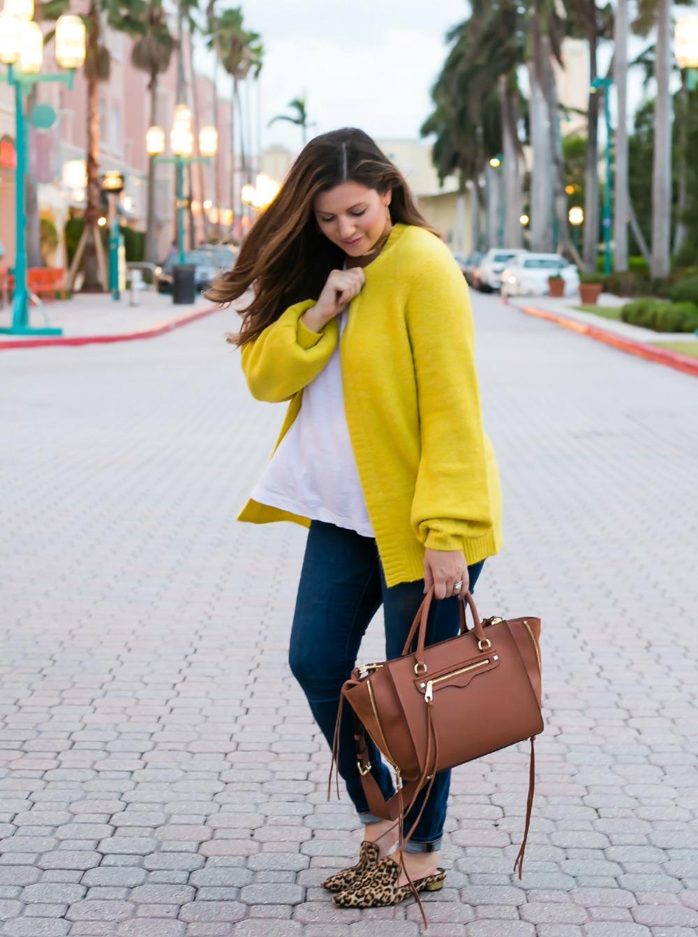 bright yellow cardigan _ skinny jeans _ leopard flats _ cognac handbag