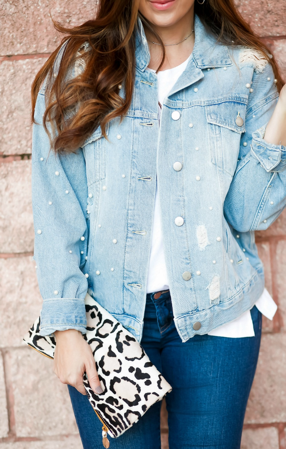 Clare V foldover clutch _ Denim Pearl Jacket