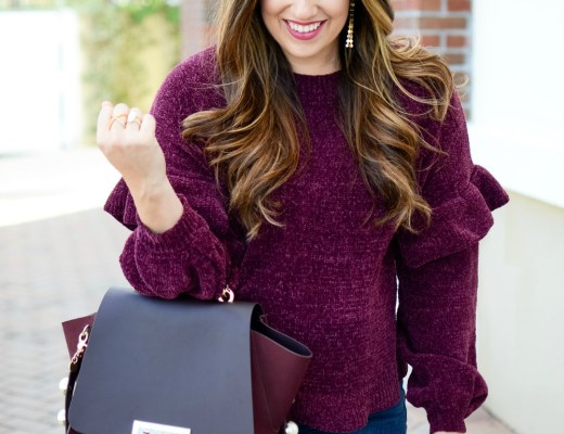 Ruffle Sleeve Chenille Sweater worn by Jaime Cittadino of Sunflowers and Stilettos blog