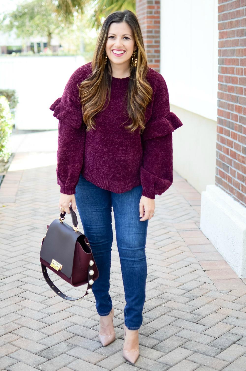 ruffle chenille sweater