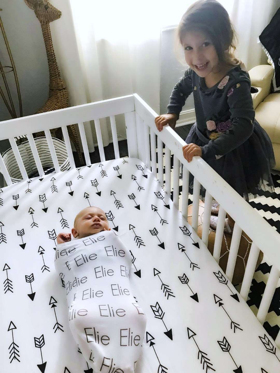 baby boy nursery, black white nursery, arrows crib sheet