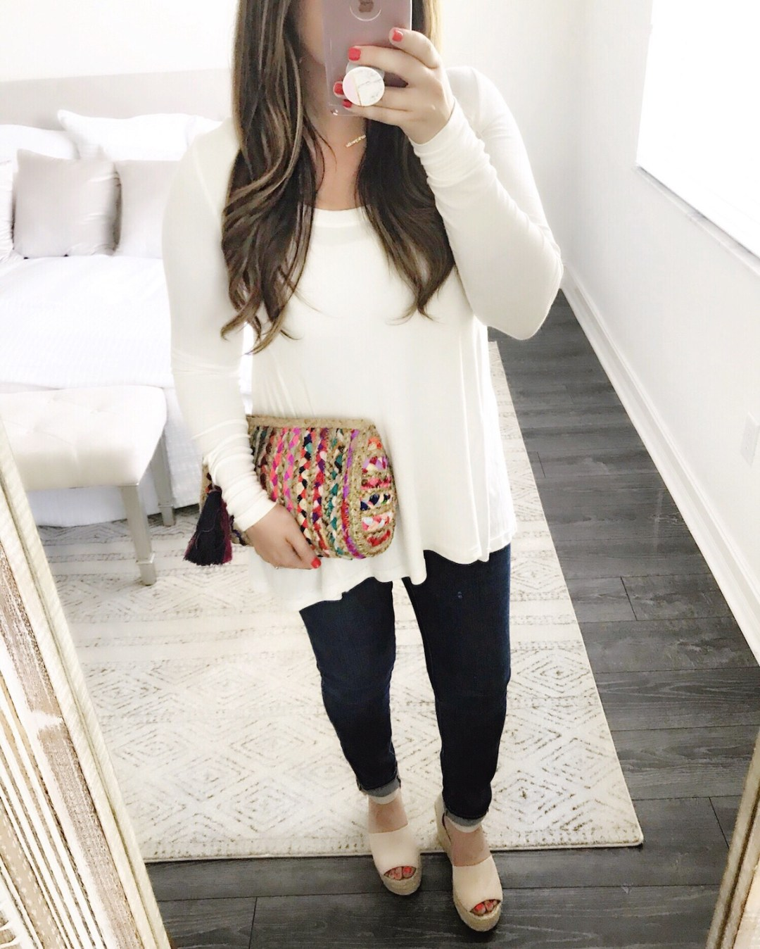 Free People January top, woven basket clutch, Marc Fisher wedges