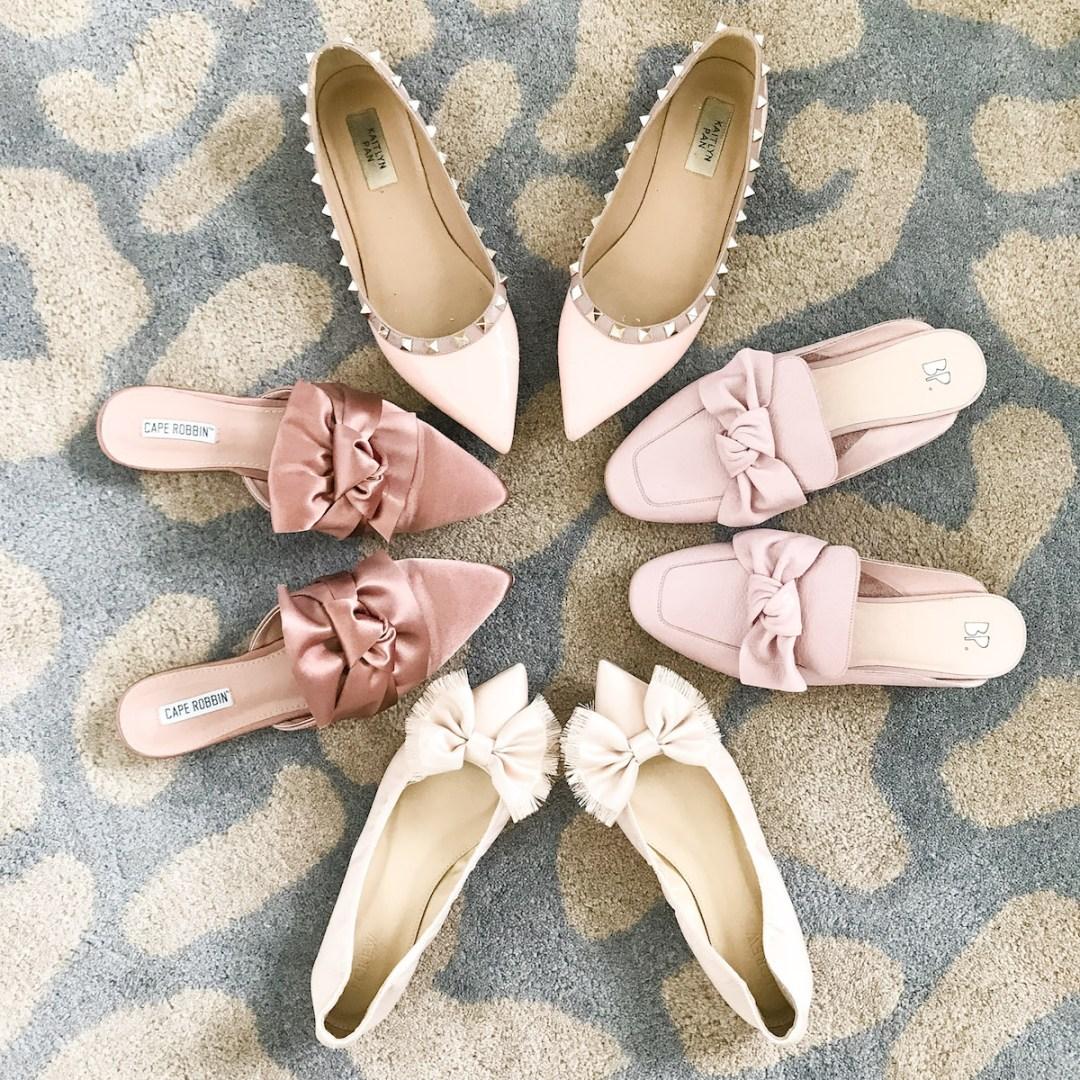blush bow flats, Valentino Rockstud dupes, pink flats, pink mules, pink bow mules
