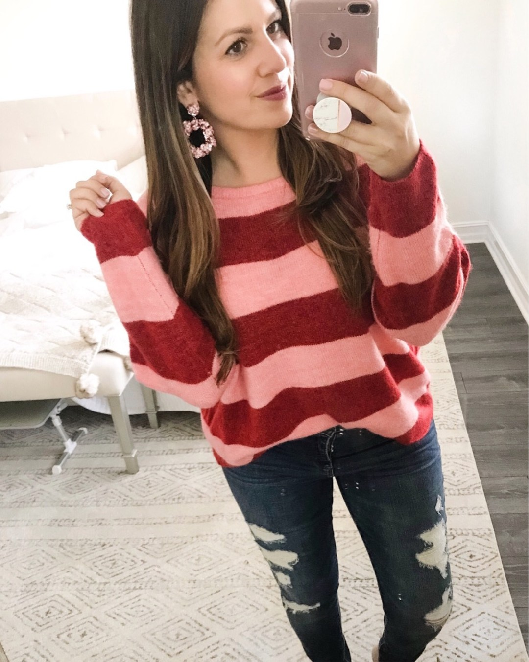pink and red striped sweater, Baublebar Statement earrings, casual chic outfit