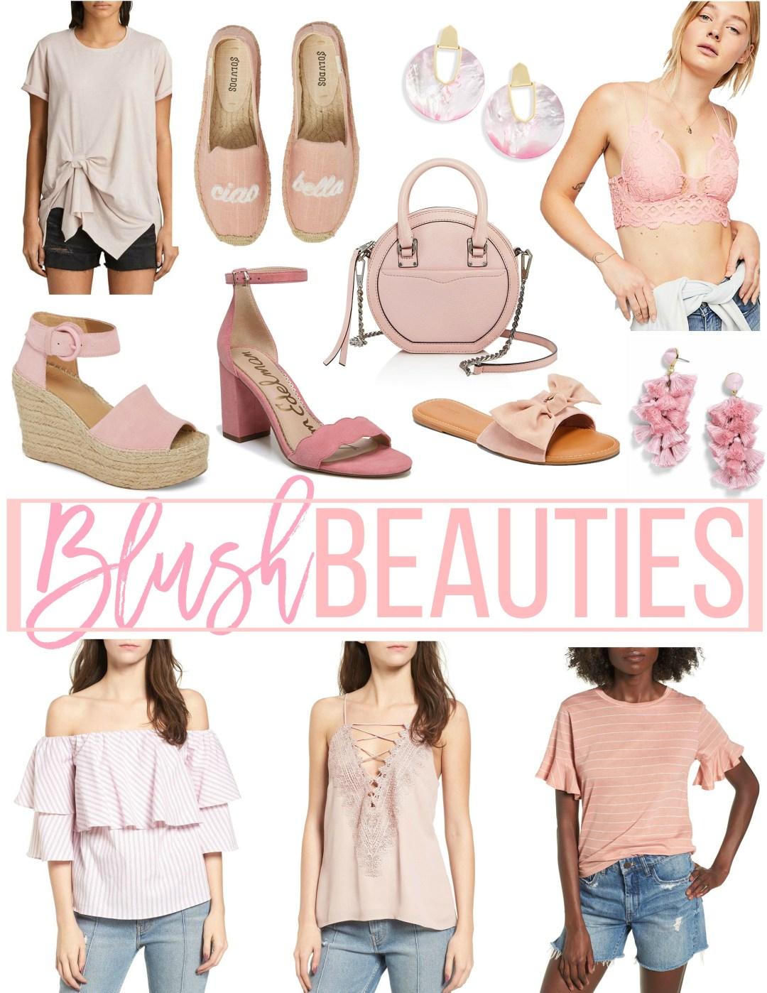 blush pink tops, blush pink earrings, blush pink shoes, blush beauties by Jaime Cittadino of Sunflowers and Stilettos blog