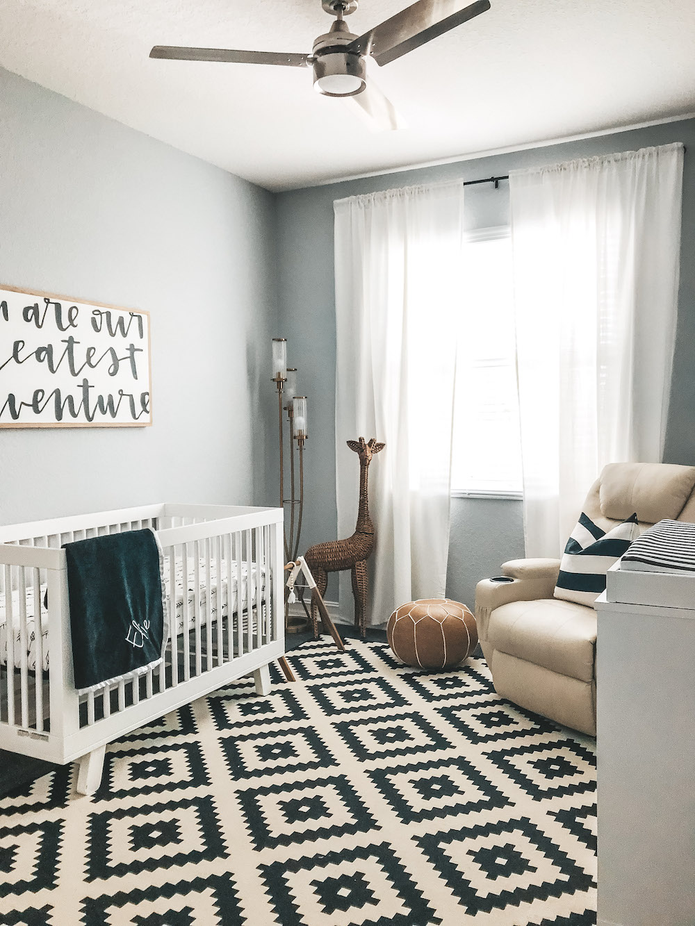 baby boy black and white nursery, black and white modern nursery