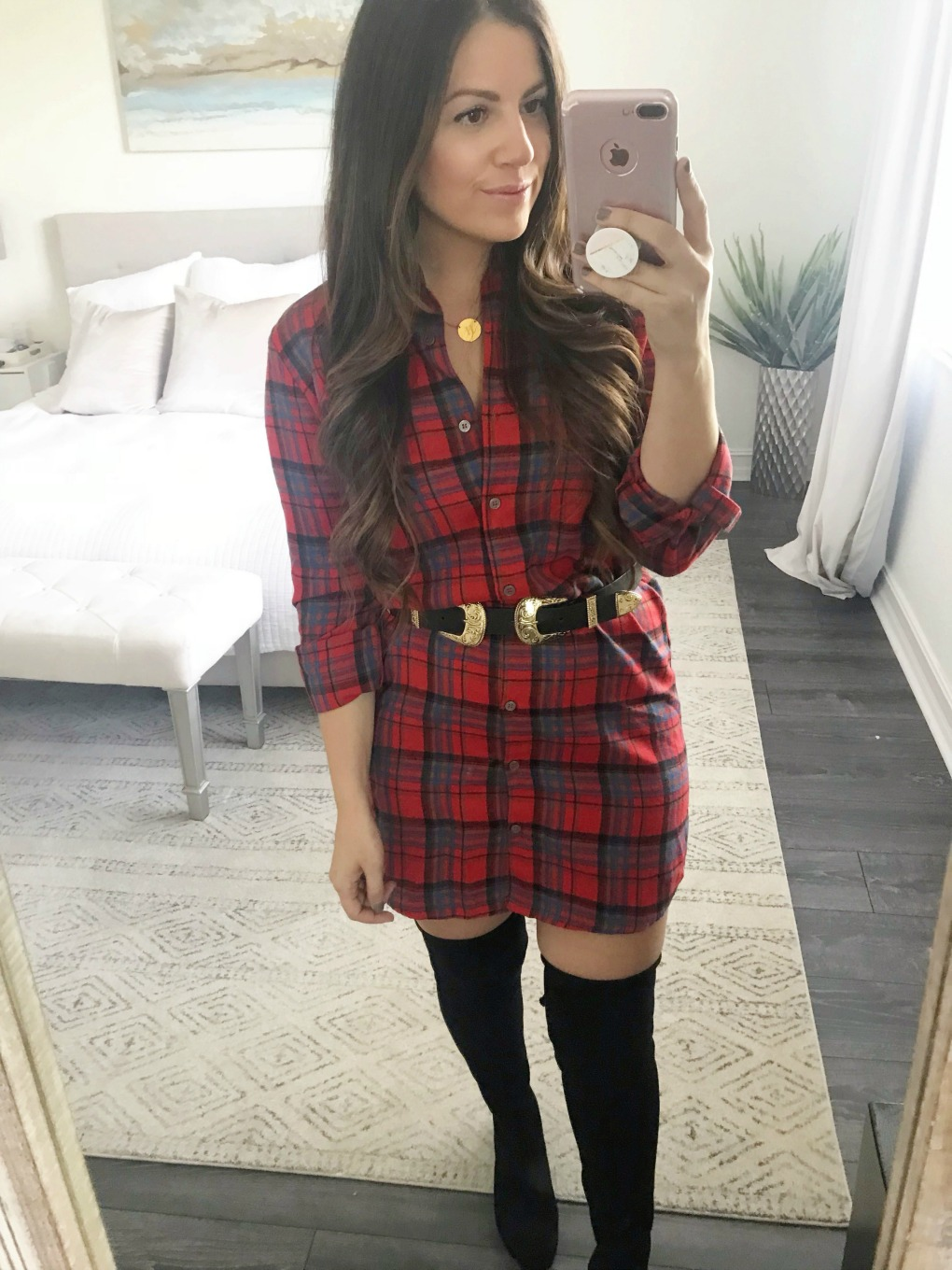 red plaid dress, OTK boots, Stuart Weitzman dupes, Red Dress Boutique