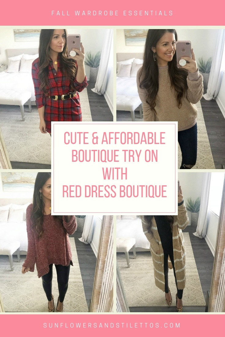 red dress boutique try on session by Jaime Cittadino of Sunflowers and Stilettos