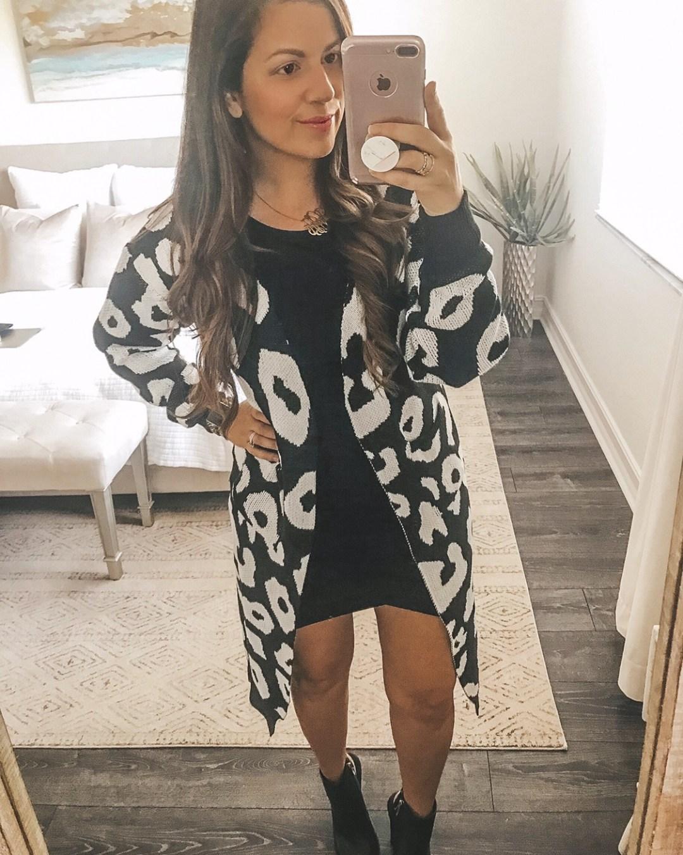 snow leopard duster cardigan, Amazon cardigan, Amazon Fashion, black and white leopard cardigan