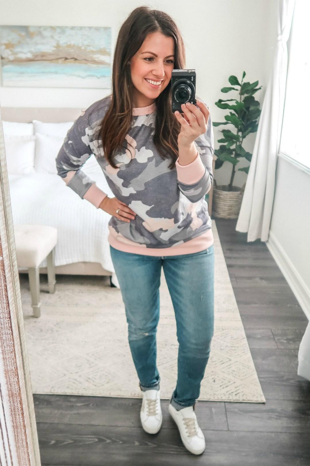 January Amazon Fashion camo top camo sweatshirt, pink camo, pink camo top