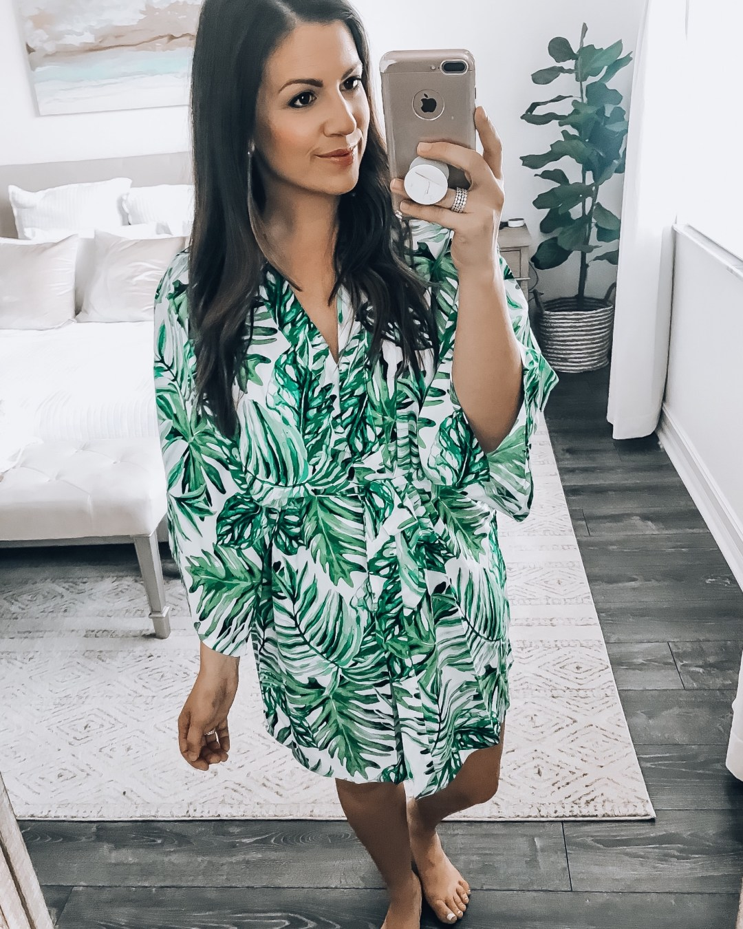 Leaf Print bath robe