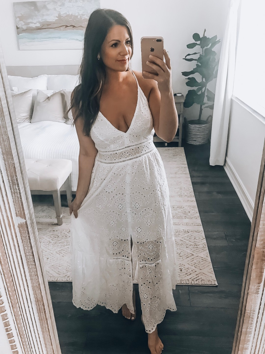 V Neck Spaghetti Strap white eyelet maxi dress