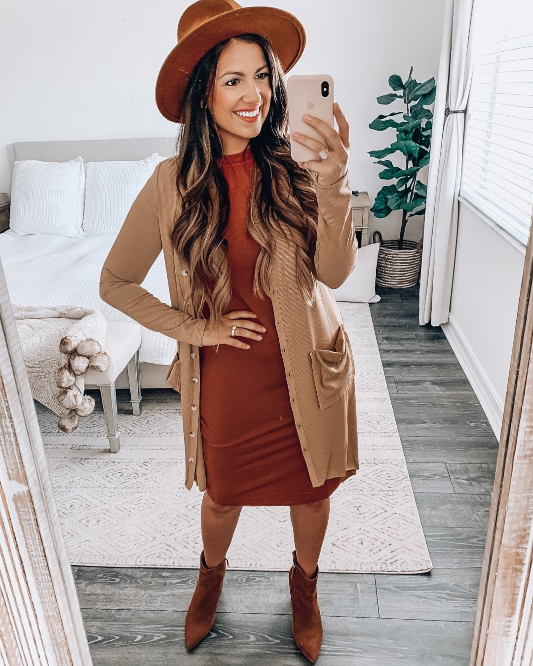 Amazon Fashion bodycon dress and cardigan, Amazon fashion fedora hat
