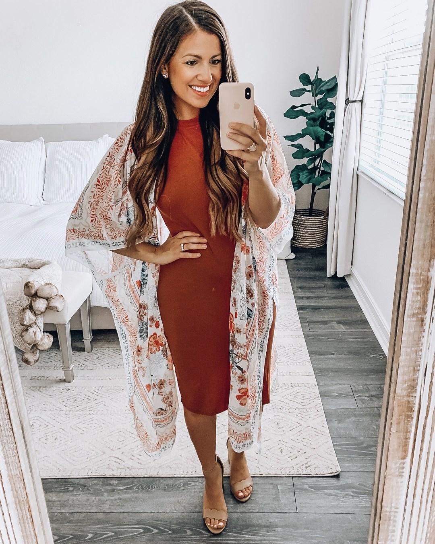 Amazon Fashion bodycon kimono outfit, floral kimono