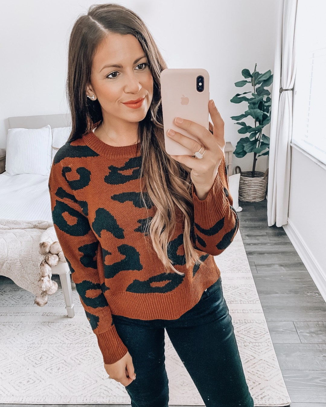 Amazon Fashion brown leopard sweater, oversize leopard print sweater